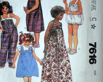 Vintage 80's McCall's 7616 Krizia Sewing Pattern, Girl's Dress and Jumpsuit, Size 4, 23 Breast, 1980's Fashion