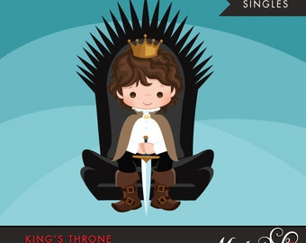 King Throne Clipart. Cute King graphic, throne, crown, single clipart. Brunette boy, prince illustration, kingdom, sword, commercial use