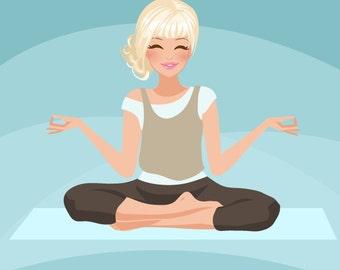 Yoga instructor Avatar. Yoga, healthy living character Graphic. Commercial use Blog, web avatar, zen, Buddha, Girl with yoga pants, yoga mat