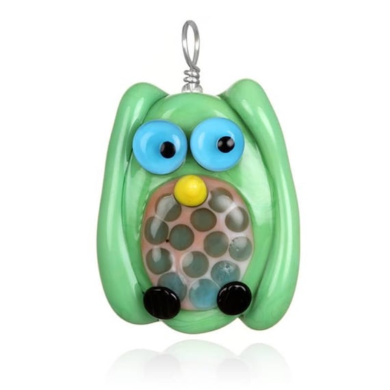 Glass Owl Pendant Necklace on Leather