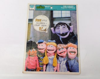 Vintage toddler puzzle - sesame street - The Count Counts children