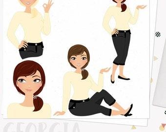 Girl boss clipart, planner girl, working mom, woman character clipart, digital blog clipart, blonde, brunette and auburn set (Georgia  L010)