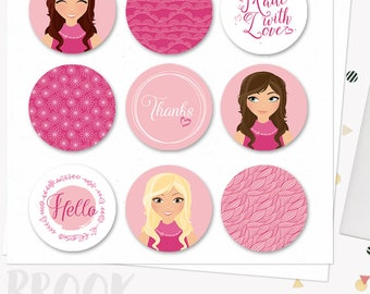 Woman character circle labels, printable diy sticker set with blonde, brunette and auburn hair (Brook  LL01)
