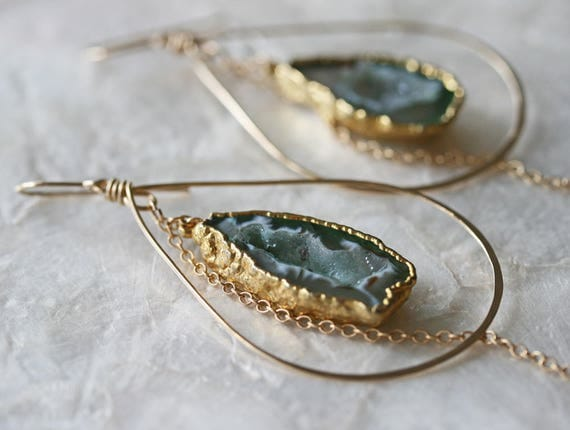 Druzy Earrings, Geode Earrings, Hoop Earrings, Green Druzy Earrings, Hammered Hoop Earrings, Occo Agate Earrings, Gold Dipped Earrings