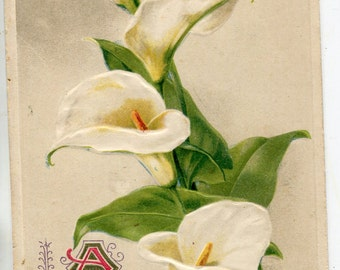 Vintage postcard - A Happy Easter to You, Calla lilies, Easter Greetings Antique Postcard Poste Carte