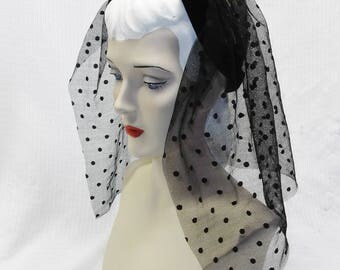 40s 50s Vintage Dramatic Black Polka Dot Back Veil Hat New York Creation