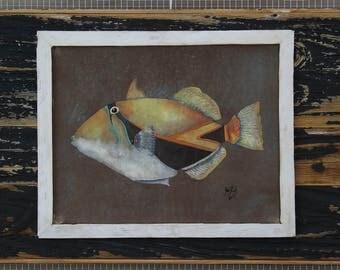 Reef Triggerfish original acrylic painting