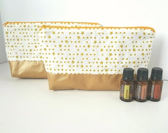 Essential Oil Pouch, Oily Pouch, Essential Oil Storage - Gold Stars