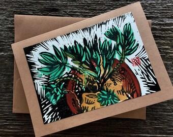 Tropical Garden Notecard hand-made linocut artist print