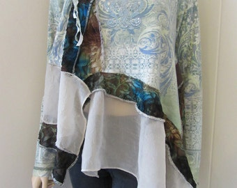 Boho Tunic Blue Paisley Knit with Cut Velvet Flowing Funky Gypsy Eco-Chic One Size Fits S - XL