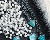 Raw apatite necklace   Rainbow moonstone necklace   Moonstone necklace   Neon blue apatite necklace   Apatite crystal jewelry