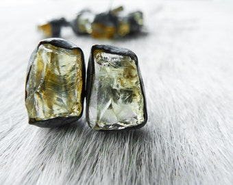 3 DAY SALE Raw citrine earrings | Citrine studs | Citrine post earrings | November birthstone earrings | Rough stone earrings | Crystal ston