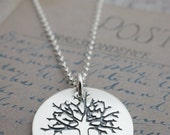 Personalized Mother's Necklace - Family Tree Pendant - Custom Sterling Silver Jewelry w/ Heart and Initials by EWDJewelry