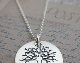 Personalized Necklace - Family Tree Pendant - Custom Sterling Silver Jewelry w/ Heart and Initials by EWDJewelry