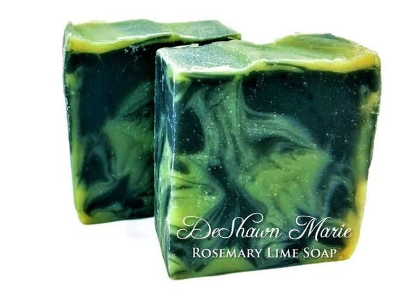 SALE SOAP - Rosemary Lime Soap, Vegan Soap, Cold Process Soap, Natural Soap, Activated Charcoal Soap, Christmas Gift, Mother's Day Gift