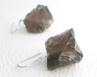Raw Smoky Quartz Earrings, Chunky Stone Jewelry, Canadian Jewellery