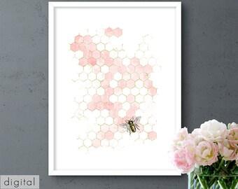 Bee & Honeycomb Printable Pink Watercolour Fragmented Gold Little Vintage Honeybee Kitchen Print Hexagon Wall Art Beekeeper Gift Download