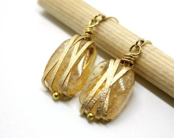 Cluster Yellow Citrine with texture wire, Mother's day gift, natural stone, gold stone, wire wrapped, wire jewelry, clip on earrings, yellow