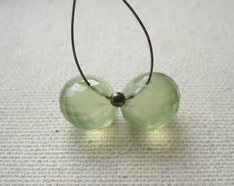 Prehnite Onion Briolette Beads 9mm - Matched Gemstone Pair
