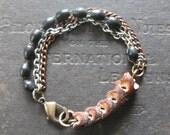Mens Bracelet - Snake Vertebrae Mixed Chain and Black Rosary Beads - Memento Mori