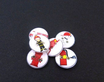 """6 SMALL Fireman Buttons.  1/2"""" or 13 mm round fire fighter sewing buttons. Handmade By Me.  Washer and Dryer Safe."""