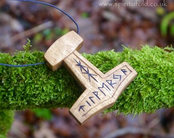 Thor's hammer necklace - Norse mjolnir pendant, Asatru mjolnir necklace, oak necklace, Norse wood pendant, Pagan mjolnir, wooden gift uk