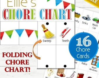 EDITABLE Chore Chart and 16 Chore Cards - INSTANT DOWNLOAD