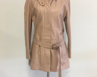 BALLY Blush Pink Leather Belted Jacket Size 44 US 8