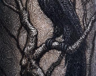 "Black Bird XXXVII acrylic and mixed media on canvas by Eden Bachelder, 36"" x 18"", crow, raven, grackle"