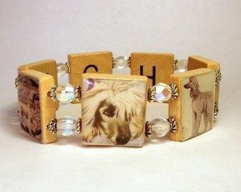 AFGHAN HOUND Bracelet / SCRABBLE Handmade Jewelry / Dog Lover Gift / Upcycled