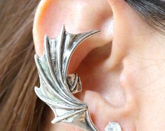 Dragon Wing Ear Cuff Devil Wing Earcuff Demon Wing Earring Dragon Jewelry Wing Earcuff Bat Wing Jewelry Silver Bat Winged Dragon Cuff