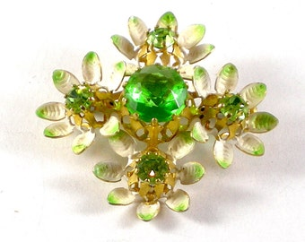 Rhinestone Flower Brooch Pin - Green White Enamel Gold Tone Metal Brooch - Vintage Jewelry