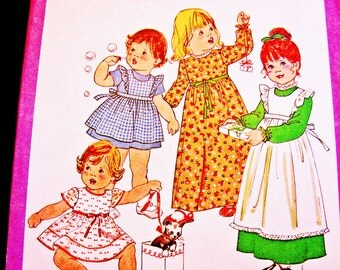 Toddler Pinafore Dress Pattern size 3 Toddler Girls Short Sleeve Dress or Long Sleeve Dress with Pinafore Vintage 1970s Sewing Patterns