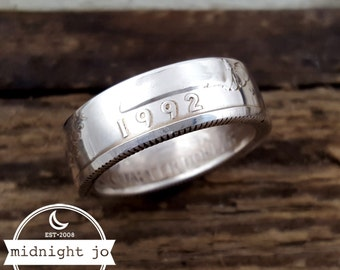 1992 Coin Ring 90% Silver Quarter Coin Ring Double Sided Coin Ring