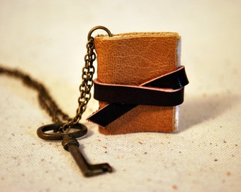 Mini Camel Leather Book Necklace