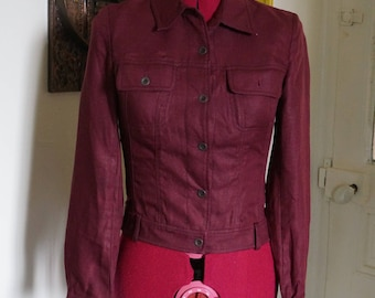 burgundy linen jacket 90s does 60s mod