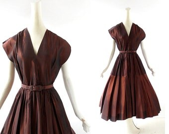 1950s Party Dress | Copper Taffeta Dress | 50s Vintage Dress | Circle Skirt Dress | XS