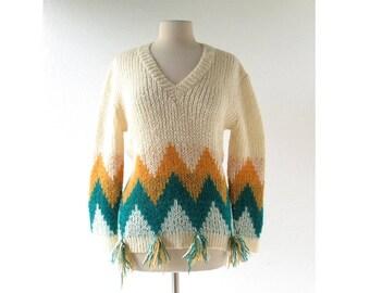 Vintage 60s Sweater | Chevron Stripe | Mohair Sweater | L XL