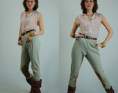 "60s Jodphurs Vintage Stretchy Twill High Waist Suede Riding Pants (26"" Waist)"