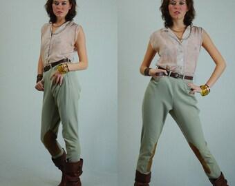 "60s Jodphurs Vintage Stretchy Twill High Waist Suede Riding Pants (26"" Waist)"