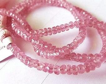 "Sapphire Gemstone. Precious Gemstone Bead. Fancy Pink Sapphire Faceted Rondelle 3.5mm. 2"" Strand  (7sap3) Last Ones"