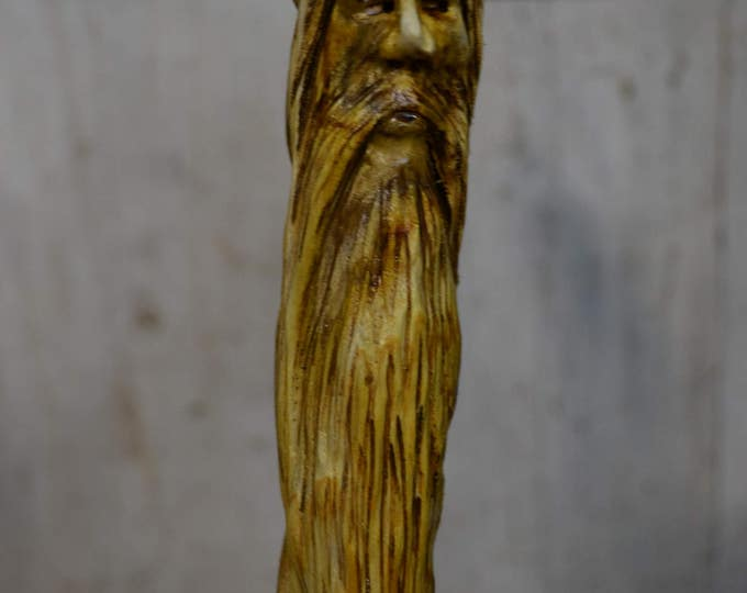 Carved Wood Spirit Face Cane - Hand Carved Sumac walking cane - mountain man - functional art - ren faire - 1631