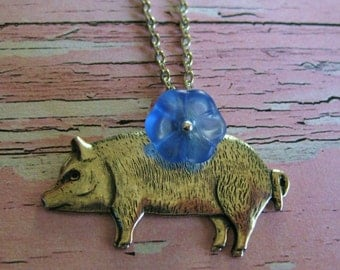 Silver Pig Necklace pig jewelry this little piggy cute necklace birthday gift for her vintage handmade animal lovers blue flower