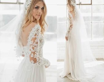 Lace Veil, Juliet Cap Veil, Wedding Veil, Silk Flower Veil, Juliet Veil, Cap Veil, Bohemian Veil, Vintage Veil, 1920s Bridal Veil, 1735