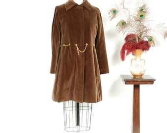 Vintage 1960s Dress - Rare GALANOS Brown Velveteen 60s Coat Dress in Chocolate Brown with Attached Chain Belt Designer Vintage