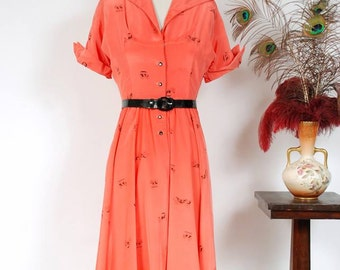 Vintage 1950s Dress - Charming Silky Coral Novelty Print Shirtwaist 50s Day Dress with Black Transportation Theme Print