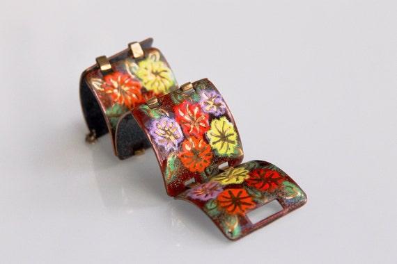 Enamel on Copper Bracelet, Vintage Enamel Bracelet, Flower Power Bracelet, Enamel Link Bracelet, Copper Enamel Bracelet