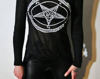 Hell Couture Pentagram Hi Lo Top
