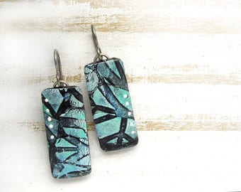 Polymer Clay Earrings Jewelry featuring an Abstract Web Design in Turquoise, Blue and Black