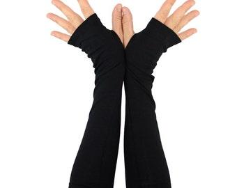 Arm Warmers in Midnight Black - Fingerless Gloves - Sleeves
